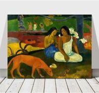 "PAUL GAUGUIN - Arearea - Women & Dog - CANVAS ART PRINT POSTER - 36x24"""