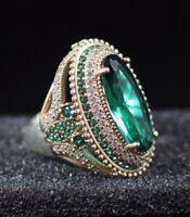 925 Sterling Silver Handmade Gemstone Turkish Emerald Men's Ring Size 7-9