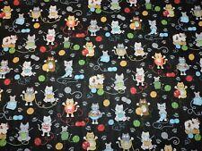 Cat Yarn Paw Print On Black 100% Cotton Fabric 1/2 Yard Precut 18