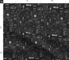 New listing Cheese Photography Vintage Camera Modern Black Spoonflower Fabric by the Yard