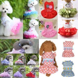 Pet Puppy Dog Dress Skirt Vest Bow Small Cat Pet Dog Clothes Apparel Costume UK
