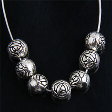 50pcs Tibetan Silver Rose Flower Beads For Jewelry Making  8mm