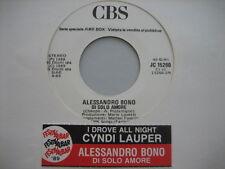 """ALESSANDRO BONO """"Di solo amore"""" CYNDI LAUPER """"I drove..""""- RARO 45 PR0M0 JB+STICK"""