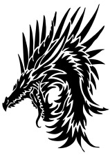 Die Cut Vinyl Decal dragon mythological fire motorcycle truck car #629