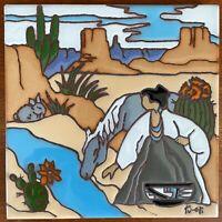 "1995 Tu-Oti Earthtones Native American Decorative Ceramic Art Tile - 6"" x 6"""