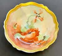 Excellent Hand Painted Red/Orange Poppy Gold  Bowl Stamped O+AG Royal Austria