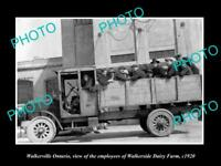 OLD LARGE HISTORIC PHOTO OF WALKERVILLE ONTARIO CANADA, THE DAIRY WORKERS c1920