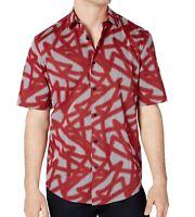 Alfani Mens Shirt Bonfire Red Size XL Button Down Striped Classic Fit $55 004