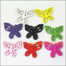 12 New Charms Mixed Wood Wooden Flower Butterfly Pendants DIY 45x49mm
