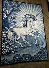 Vintage Unicorn Horse Cannon Ibena Reversible Twin Throw Blanket W. Germany