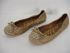 SAM EDELMAN BEATRIX GOLD LEATHER SPIKES STUDS CAP TOE BALLET FLATS WOMEN'S 7 M