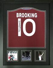 More details for framed sir trevor brooking signed west ham united 10 shirt & proof coa football