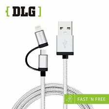 DLG  Braided MicroUSB+lightning for iOS&Android system Charging&Data Sync Cable