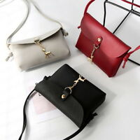 Women's Vintage Small Deer Pendant Leather Crossbody Shoulder Bag Purse Wallet