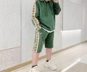 Gucci boys toddler green cotton set hoodie+shorts.Size 4 T