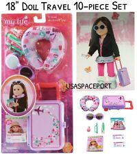 "18"" Doll 10-piece Purple TRAVEL LUGGAGE SET Suitcase for My Life American Girl"