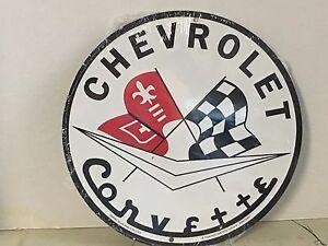"""CHEVROLET CORVETTE RACING FLAGS 12"""" ROUND METAL SIGN GARAGE BARN INDOOR OUTDOOR"""