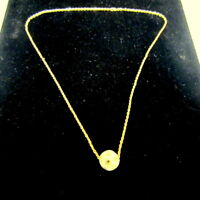 "10K Yellow Gold 18"" Rope Twist Chain Necklace w/Carved Jade Ball Pendant 2.0g"
