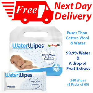 WaterWipes Baby Wipes, 99.9% Water, Unscented Sensitive, Newborn Skin, 240 Wipes