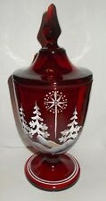 "Vintage 9 1/2"" Ruby Hand Painted Fenton Covered Candy Box with Star of David"