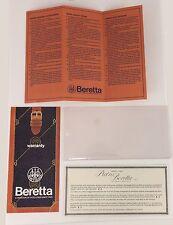 Vintage Beretta Warranty Card Tag in Plastic Holder