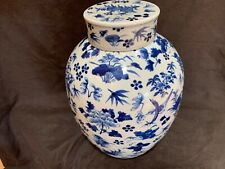 "antique Chinese Qing Kangxi mark blue & white porcelain 12"" covered jar SUPERB"