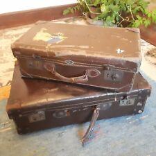 "2 x Antique Vintage Brown Classic Decorative Luggage Suitcases British Made  ""L7"