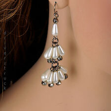 SIMPLY VERA WANG Simulated PEARL EARRINGS Oblong Beads & Grey BEADS Tiered Rows
