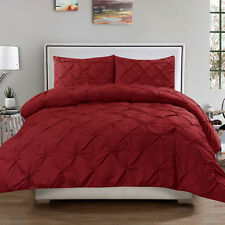 Luxury 3 Piece Pinch Pleat Pintuck Duvet Cover & Pillow Sham Set Burgundy Queen