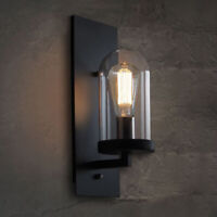 Modern Loft Wall Light Sconce Fixture with Clear Glass Shade for Hallway Porch