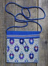 Mexican Morral Bag Mayan Royal Blue & Cream Larrainzar Handwoven Backstrap Loom