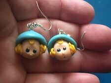 dangle earrings kitsch Handmade clay doll head