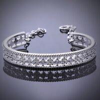 Pave Cubic Zirconia Filigree Adjustable Cuff Bangle Bracelet-CZ-Bridal-1 SZ