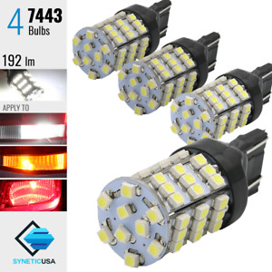 4x 7443/7440 Brake Tail Stop Lights Xenon 6000K White 54-SMD LED Lamp Bulbs