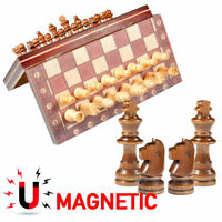 3 In 1 Magnetic Chess Travel Set With Wood Board Folding Chessboard Game