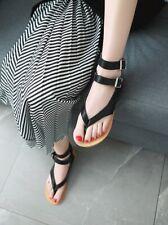 Womens Flats Gladiator Buckle Strap Flip Flops Summer Slingbacks Sandals Shoes