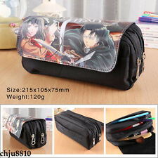 Attack On Titan Eren Jaeger Pencil Case pen bag Stationery Case zip Make-Up Bag