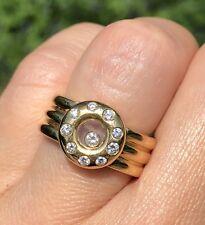 RARE Chopard 18K Yellow Gold Floating Happy Diamond Vintage Ring Switzerland