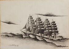 DISEGNO BOZZETTO DRAWING LAPIS SU CARTA 1900 VELIERO BARCA NAVE SHIP 15