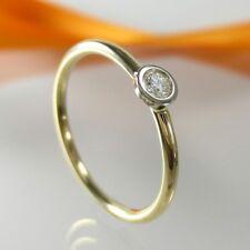 A755a Verlobung Solitär Ring 585 14K Gold Schmuck Brillant Diamant 0,06 ct