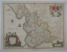 Lancashire: antique map by Jan Jansson, 1647