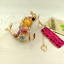 Betsey Johnson Whale of a Fish Pendant Necklace Gold & White, Ships from US