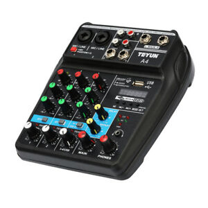 4 Channels Audio Mixer with Sound Mixing Console Record 48V with USB Cable U4D9