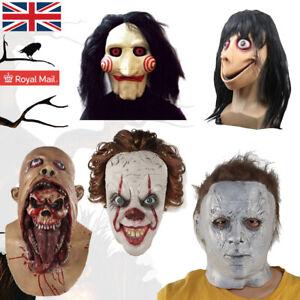 LATEX MOVIE MASK Adults Cosplay Scary Horror Fancy Dress Halloween Momo Jinsaw