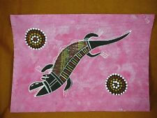 AUS-24 Crocodile pink Australian Native Aboriginal PAINTING Artwork T Morgan