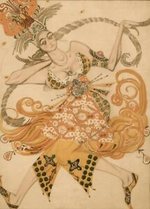 The Firebird Costume design by LEON BAKST Vintage Ballet Posters