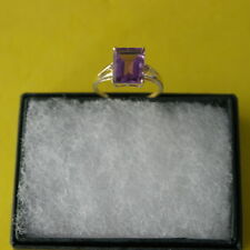 BEAUTIFUL10K YELLOW GOLD RING NATURAL BRAZIL PURPLE AMETHYST & DIAMONDS RING