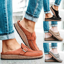 Womens Flat Heels Slippers Sandals Casual Retro Buckle Round Toe Summer Shoes