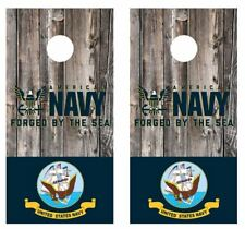 Navy Forged By The Sea Barnwood Cornhole Board Wraps Free Laminate #2697