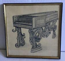 Old Hans Benninger Augsberg Provenance Signed Etching Print Harpsichord -Estate